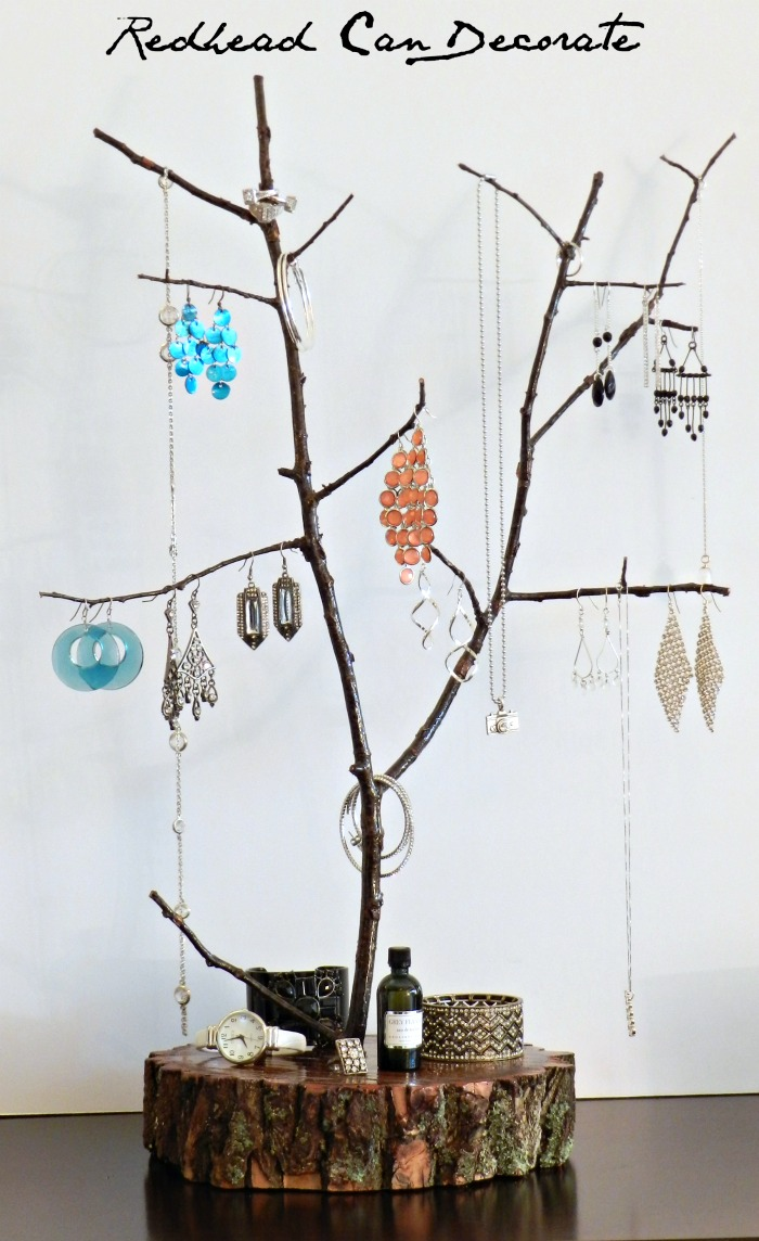 Diy rustic jewelry display for Tree branch jewelry holder