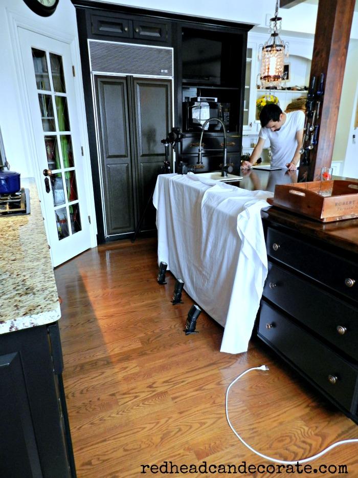 kitchen at photo shoot
