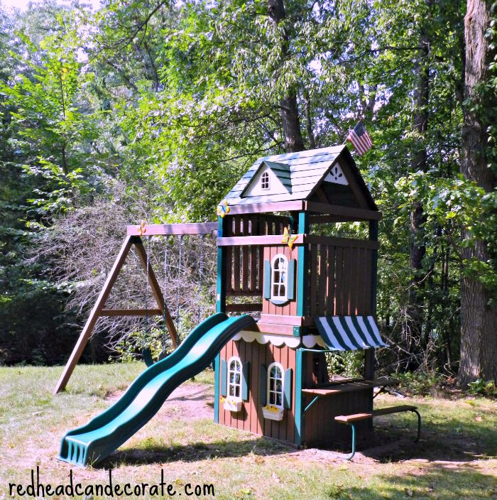 Pretty Swing Set Makeover