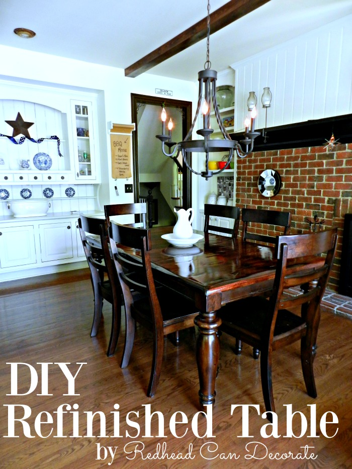 This DIY Refinished Table Top tutorial gives step by step full instructions (including products used and supplies used) to refinish your dining table top the right way and makes it last!