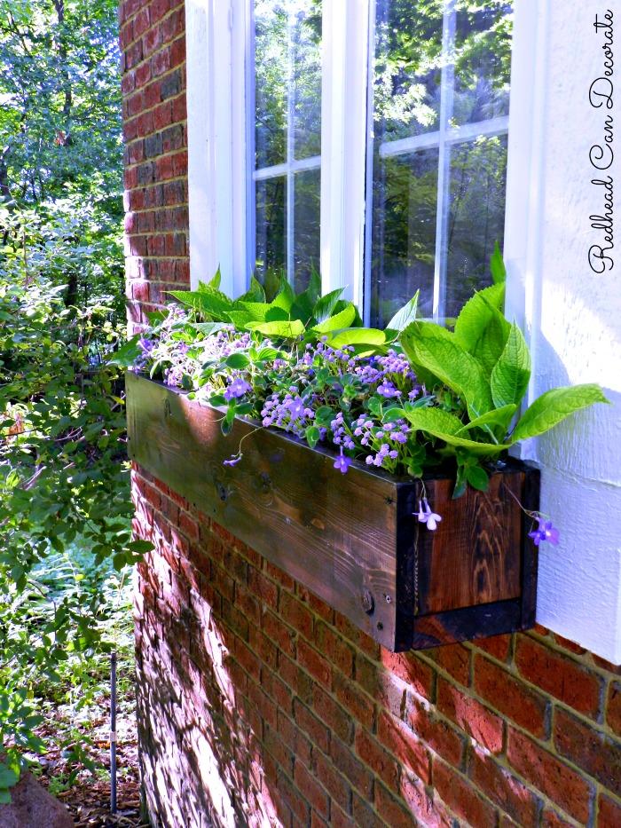 DIY Wood Window Flower Box - Redhead Can Decorate