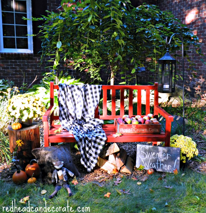 Fall Red Bench