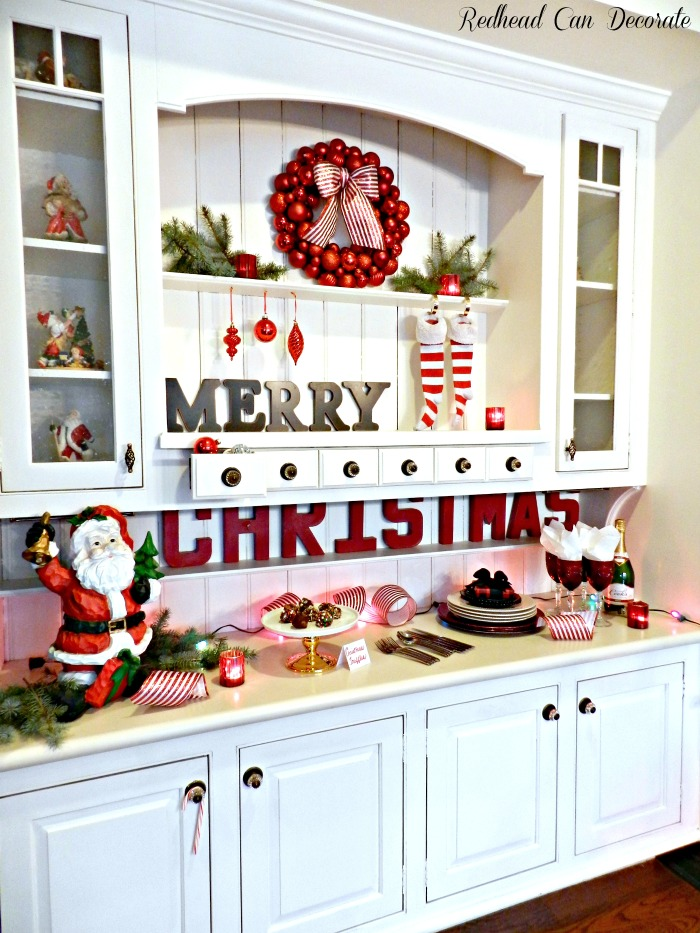 Christmas hutch redhead can decorate for Christmas decorating kitchen cabinets