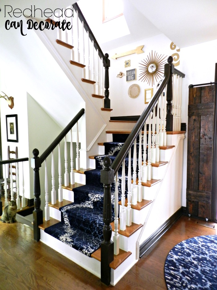 Lighting Basement Washroom Stairs: DIY Stair Runner & Gallery Wall