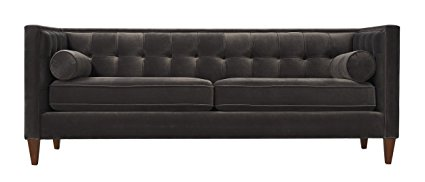 This charcoal velvet sofa is gorgeous! There are more colors, too!