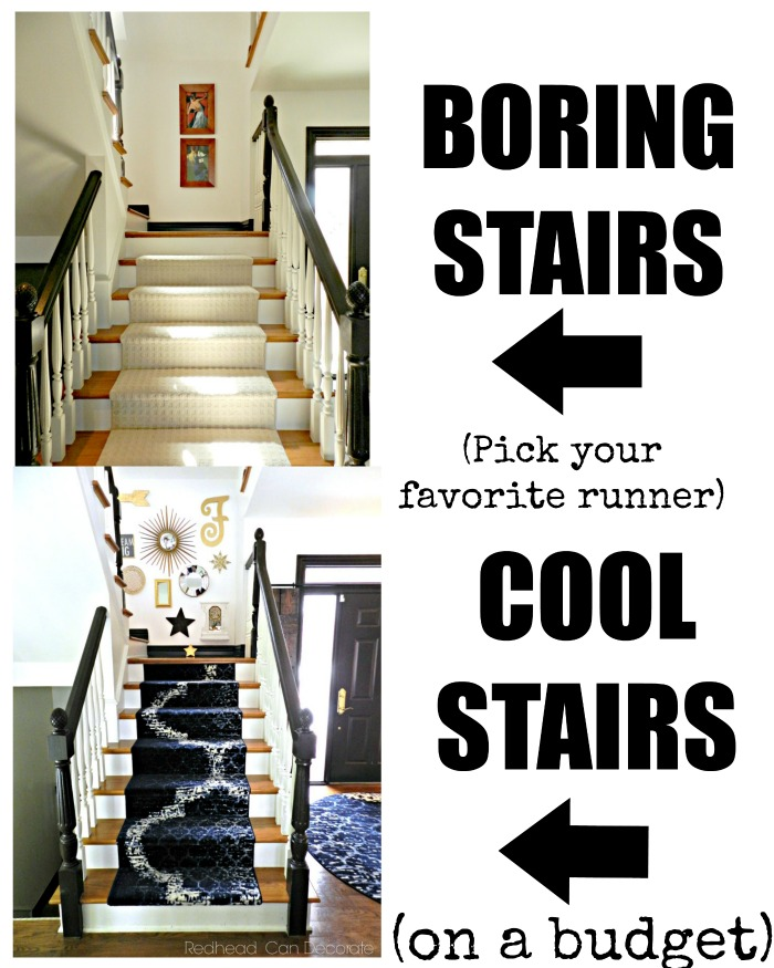 Did you know that you can order a runner on line and install it on your wood stairs in minutes? That's what this blogger did and the sky is the limit with what runner you choose. She gives a full tutorial on her blog.