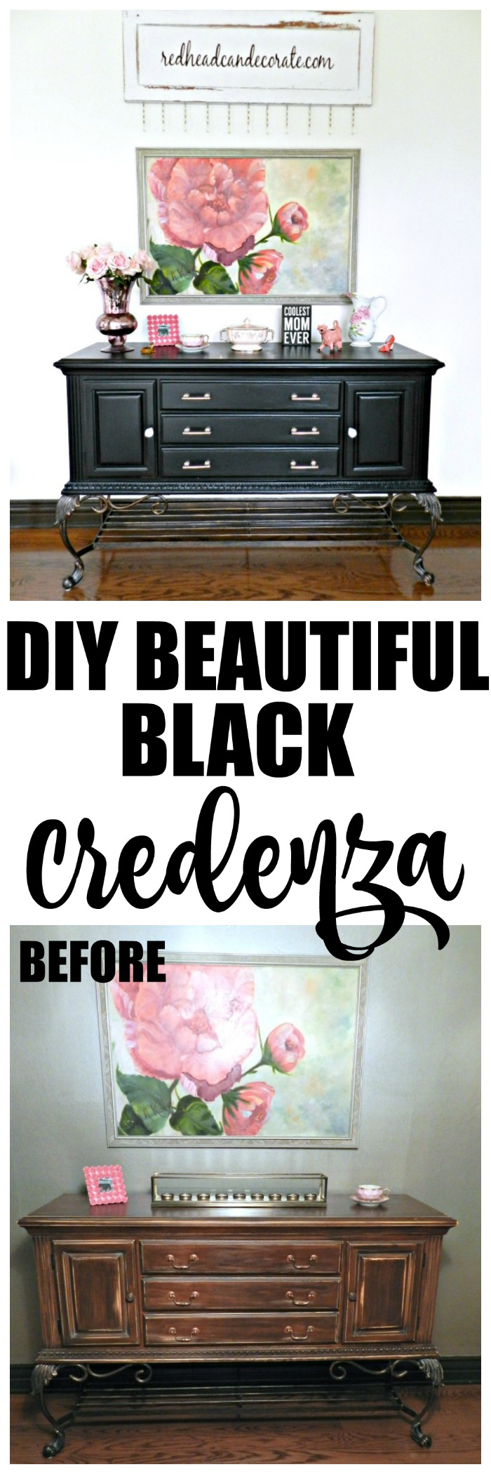 Check out this gorgeous black credenza makeover! When in doubt paint to black.