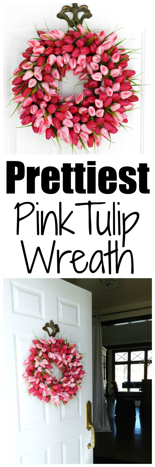 I think this is the prettiest pink tulip wreath I have ever seen!