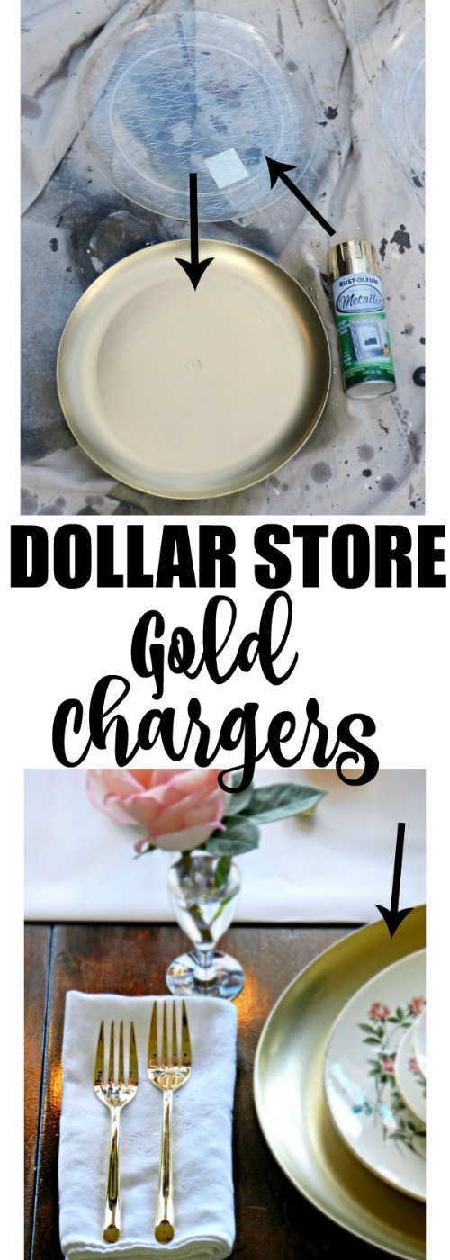 I can't believe these gorgeous gold chargers are made from those clear plastic trays