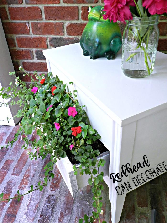 Thrifty Nightstand Turned Flower Planter