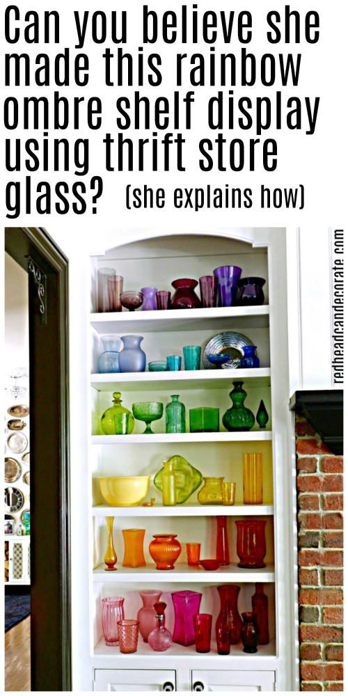 Here's an amazing DIY Thrift Store Rainbow Ombre Glass Display made with mostly thrift store colored glass!