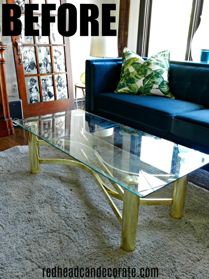 Thrifty vintage brass & glass coffee table gets a modern day makeover with this one simple step...
