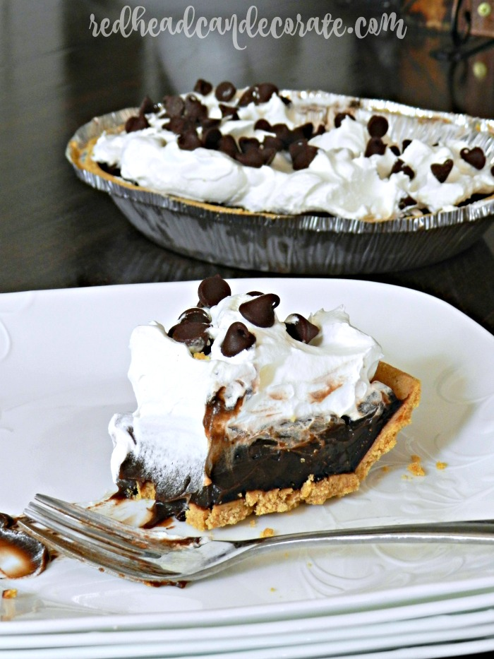 Out of all the pies I make for my family, this easy chocolate pudding pie recipe is the one they all favor the most! It's made with a pre-made crust so it's finished in minutes with very little clean up!