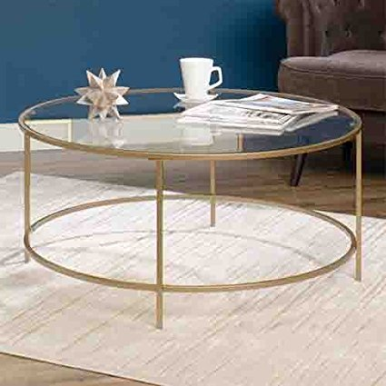 Thrifty vintage brass & glass coffee table