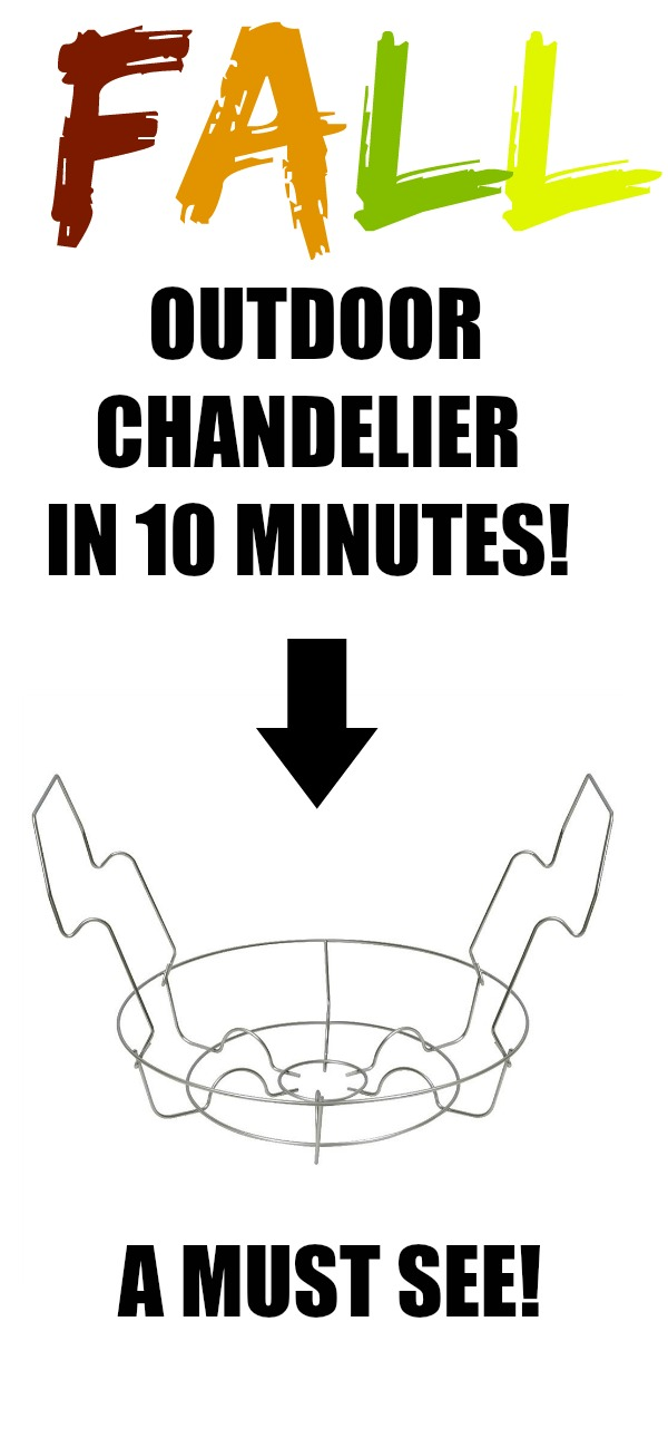 This 10 Minute Outdoor Fall Chandelier is so cute and easy for Fall!  Get a Canning rack and a mum and your almost done!
