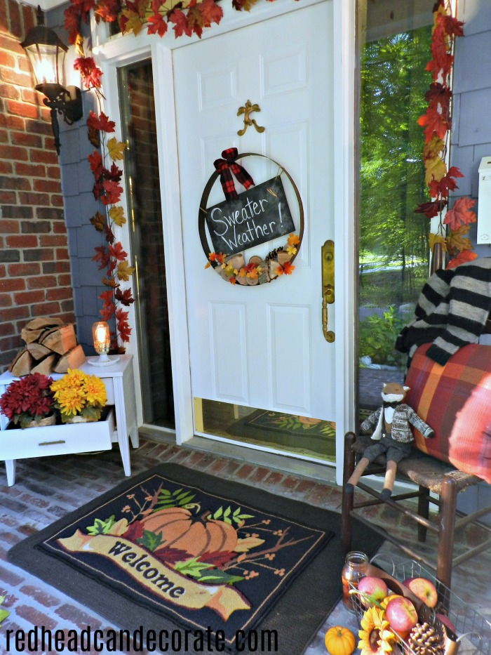 "Take the beautiful tour of this ""Cozy Fall Porch"" by redheadcandecorate.com. She uses warm rustic accents, but doesn't spend a fortune creating a Fall Porch everyone loves!"