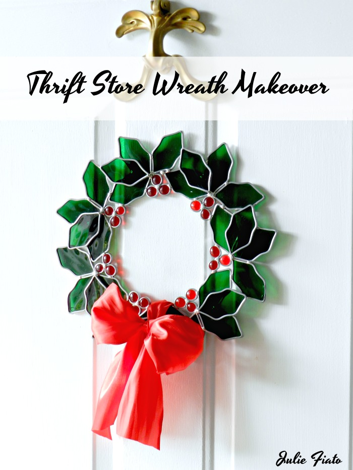 "Dated sun catcher gets a beautiful makeover with just a few tweaks. This ""Thrift Store Stained Glass Wreath Makeover"" is a must see!"
