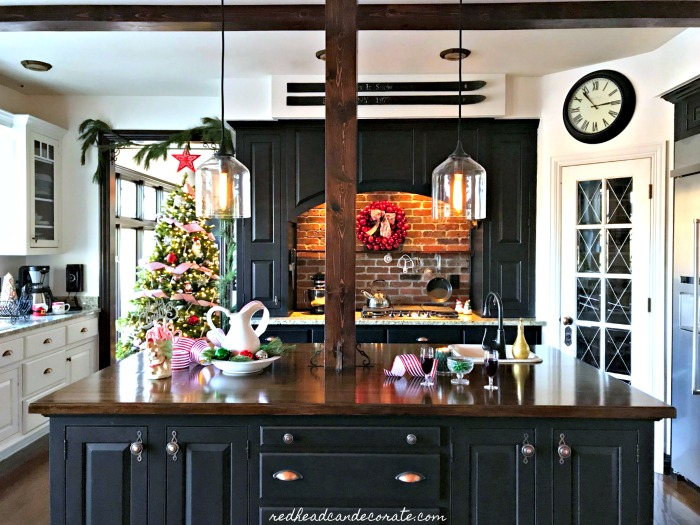 Gorgeous new kitchen glass pendants in this Michigan blogger's home are stunning! Take the full Christmas tour here...