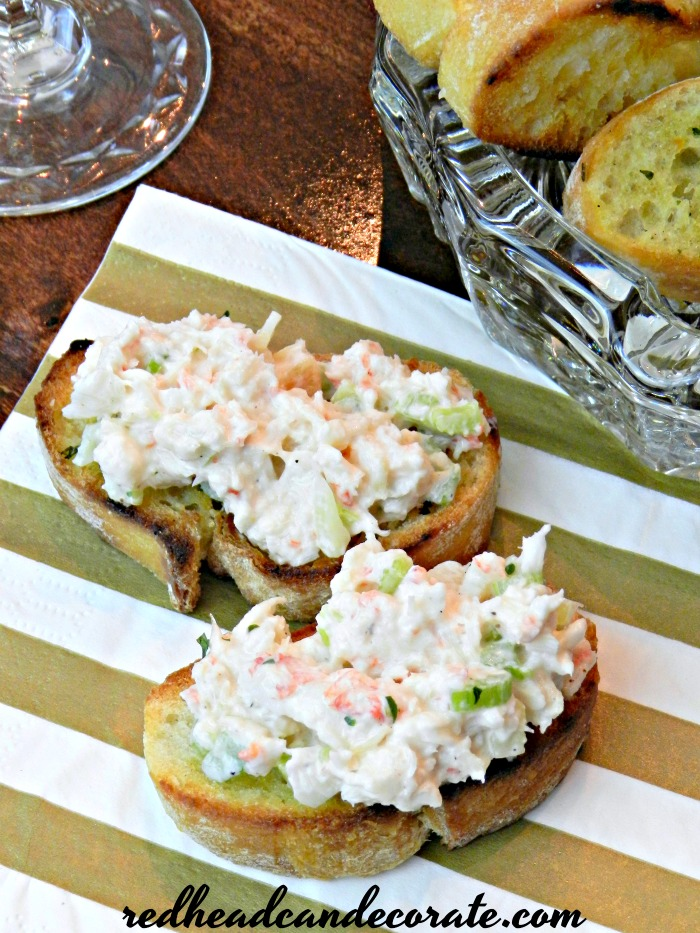 Lobster Salad Appetizer Toasts - Redhead Can Decorate