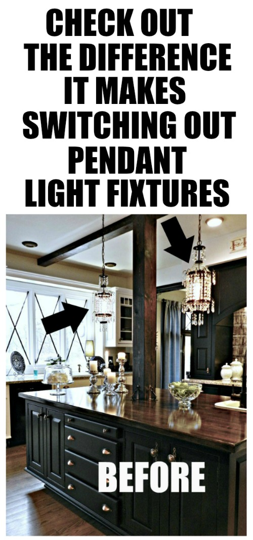 This is truly an amazing kitchen island transformation using pendant light light fixtures!
