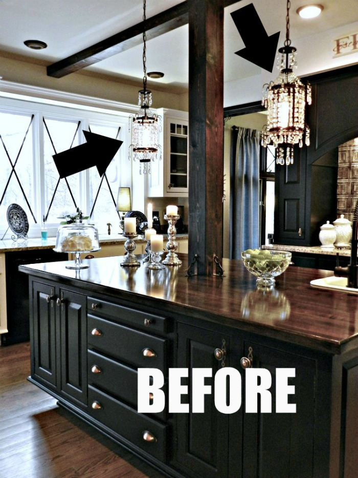 Wait until you see the new kitchen glass pendant that redheadcandecorate.com put in her kitchen!