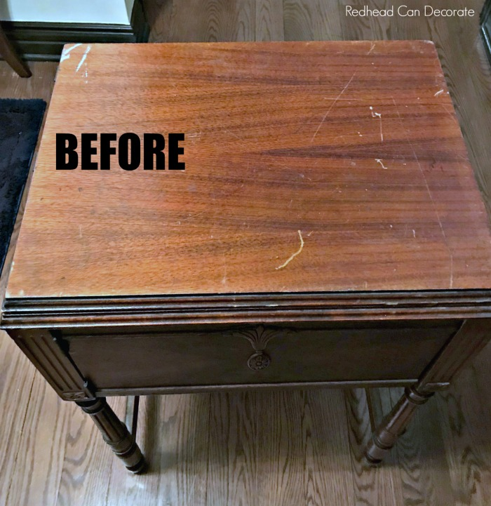 Check out this Vintage Sewing Machine Table Makeover without Refinishing/Painting! She used 3 very inexpensive products and it looks brand new! No refinishing required!