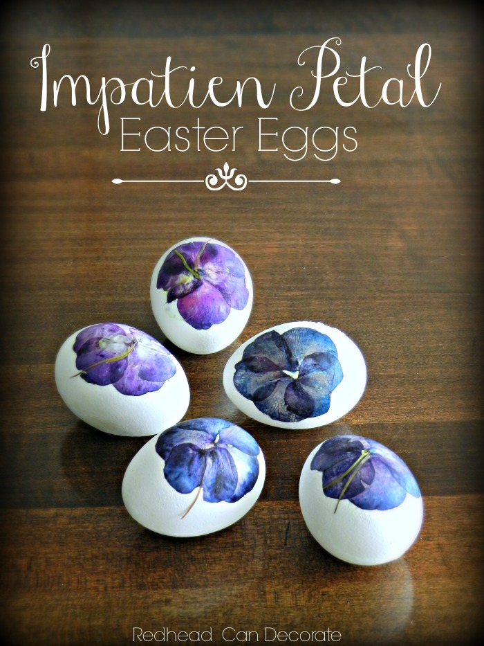 Impatien Petal Easter Eggs is a beautiful alternative to traditional Easter egg dying. These gorgeous eggs are perfect for Spring home decorating!
