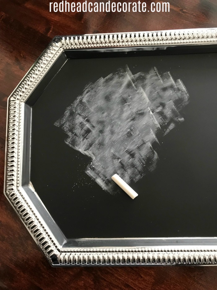 This Silver Platter Chalkboard Sign is the cutest idea for those silver platters you find at the thrift store!