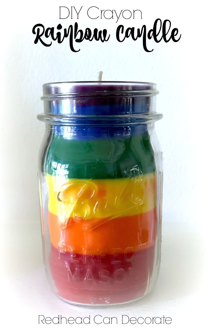 This DIY Crayon Rainbow Candle tutorial really tells the real details on how to make one of these using crayons.