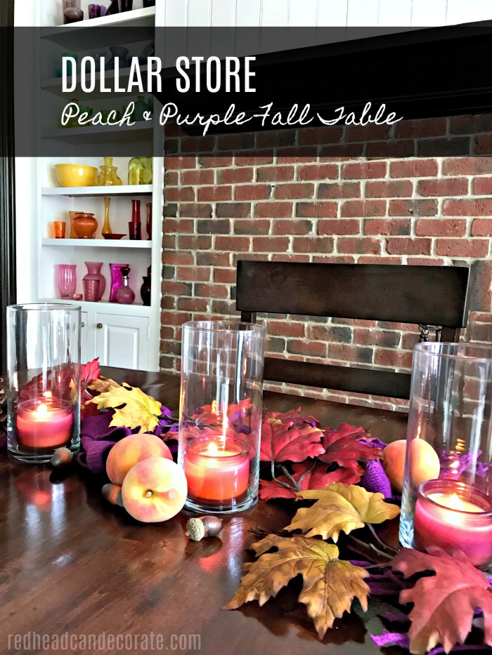 This Peach & Purple Fall Table is so gorgeous with all those colors! She used dollar store items and peaches, and even grapes!