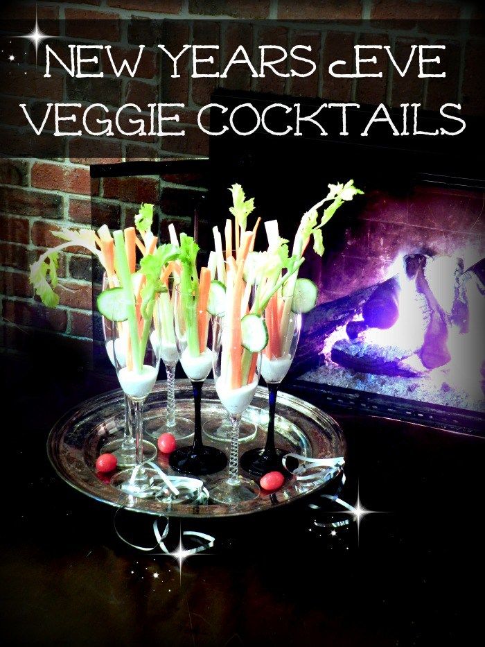 thrift store champagne glasses that cost 25 cents turned cute veggies cocktails for New Year's Eve!