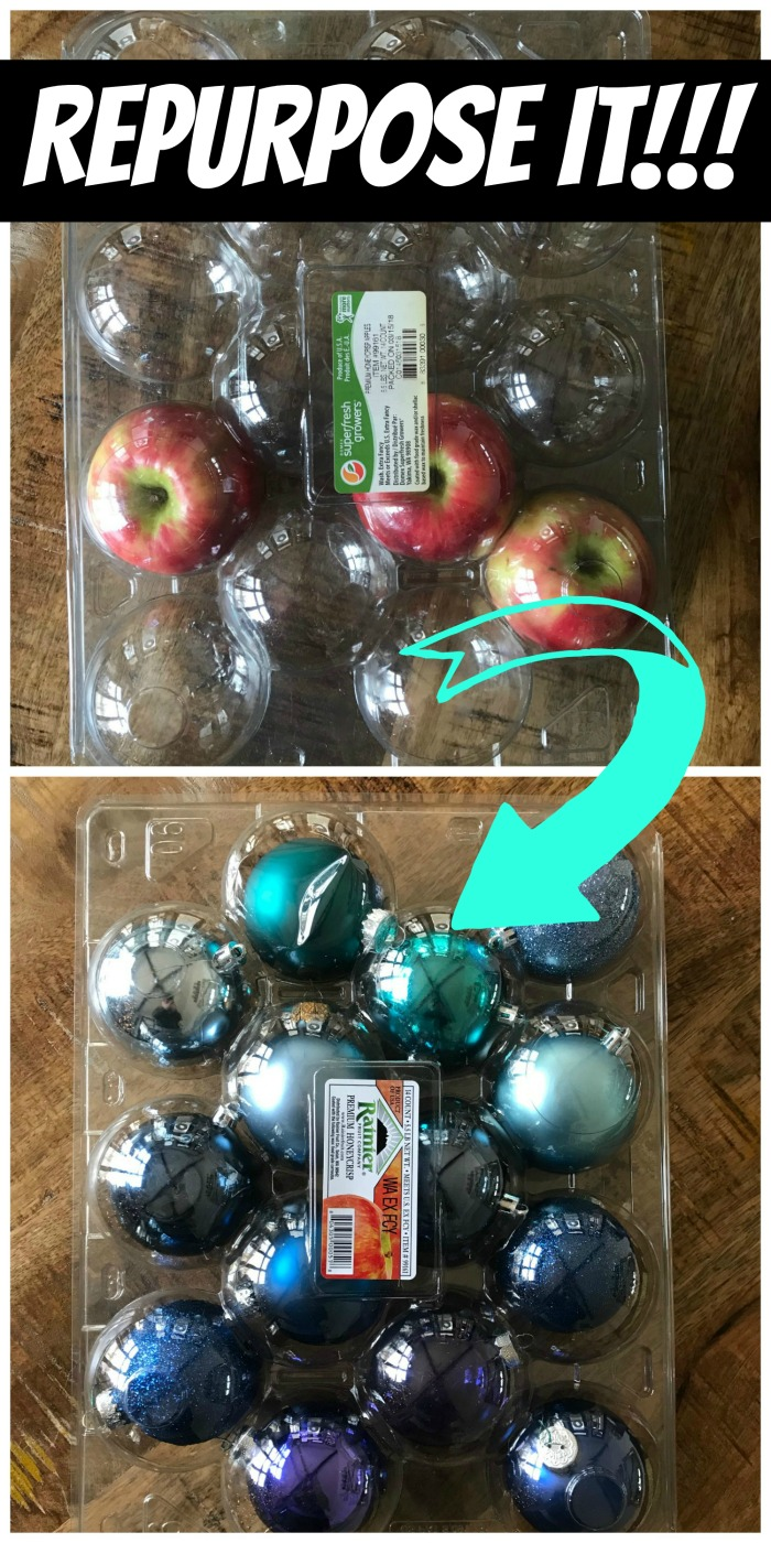 This Repurposed Costco Plastic Apple Container is a smart way to no only recycle, but to save your Christmas ornaments!