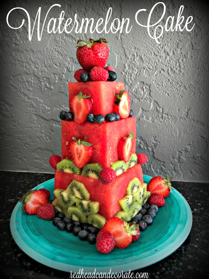 This DIY watermelon cake is made easily with seedless watermelons and fresh berries and kiwi.  There is a full tutorial and more fantastic photos!