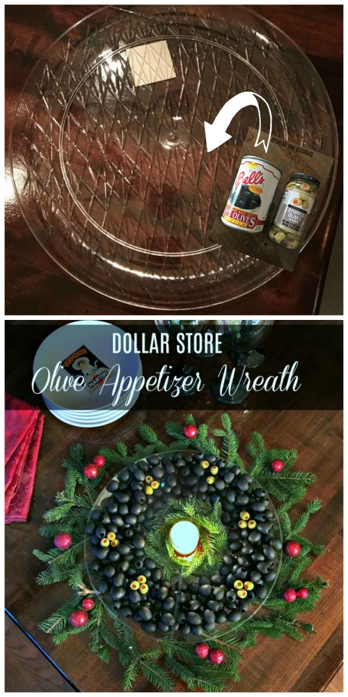 """This gorgeous """"Dollar Store Olive Appetizer Wreath"""" is not only afforadable, but almost everything comes from the dollar store!"""
