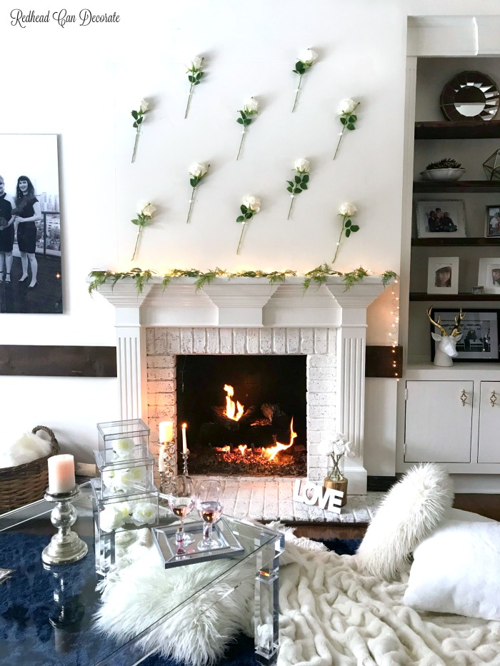 """This gorgeous Romantic Rose Mantel cost $20 to create and it would be perfect for Valentine's Day!  Just think of all the places to add a """"Rose Wall!"""