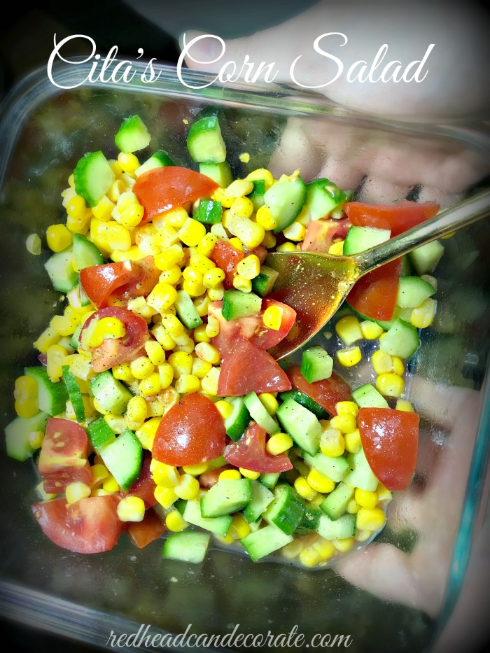 This simple 1 can of corn Cita's Corn Salad makes a nice side dish especially when you don't have a ton of ingredients to work with.  It's the perfect mix of sweet and salty!