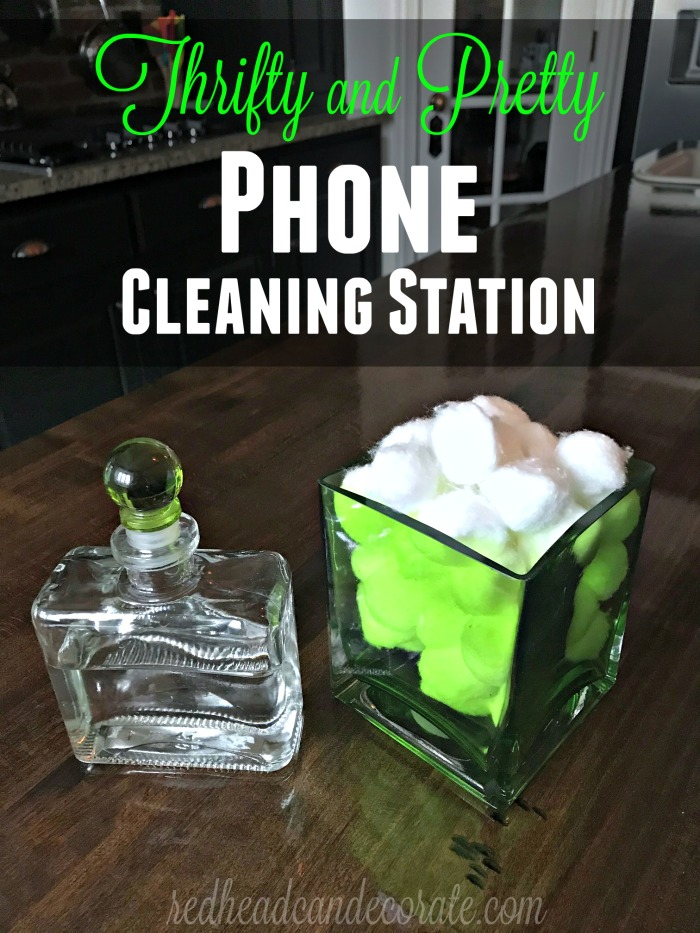 """""""Thrifty and Pretty Phone Cleaning Station"""" below was created using an old fancy bottle (with a secure top) filled with rubbing alcohol from the dollar store.  It's partner is a thrift store vase cleaned, and filled with dollar store cotton balls."""