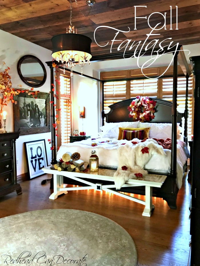 This Fall Fantasy Master Bedroom Makeover includes many affordable decorating ideas for fall including glowing ambers under the bed!