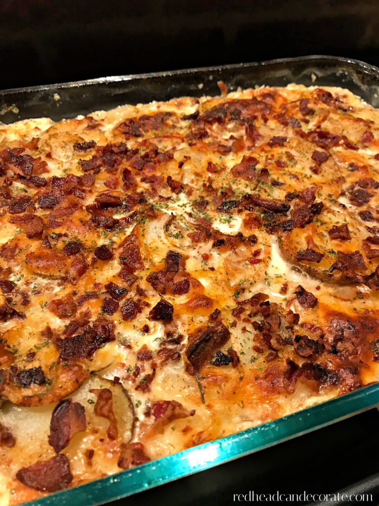 "This creamy, savory satisfying potato layered casserole is loaded with healthy ingredients such as Greek yogurt, and Parmesan cheese instead of high fat greasy meats and cheeses.  These ""Bacon Scalloped Potatoes"" taste absolutely amazing and the bacon topping is a must try!"
