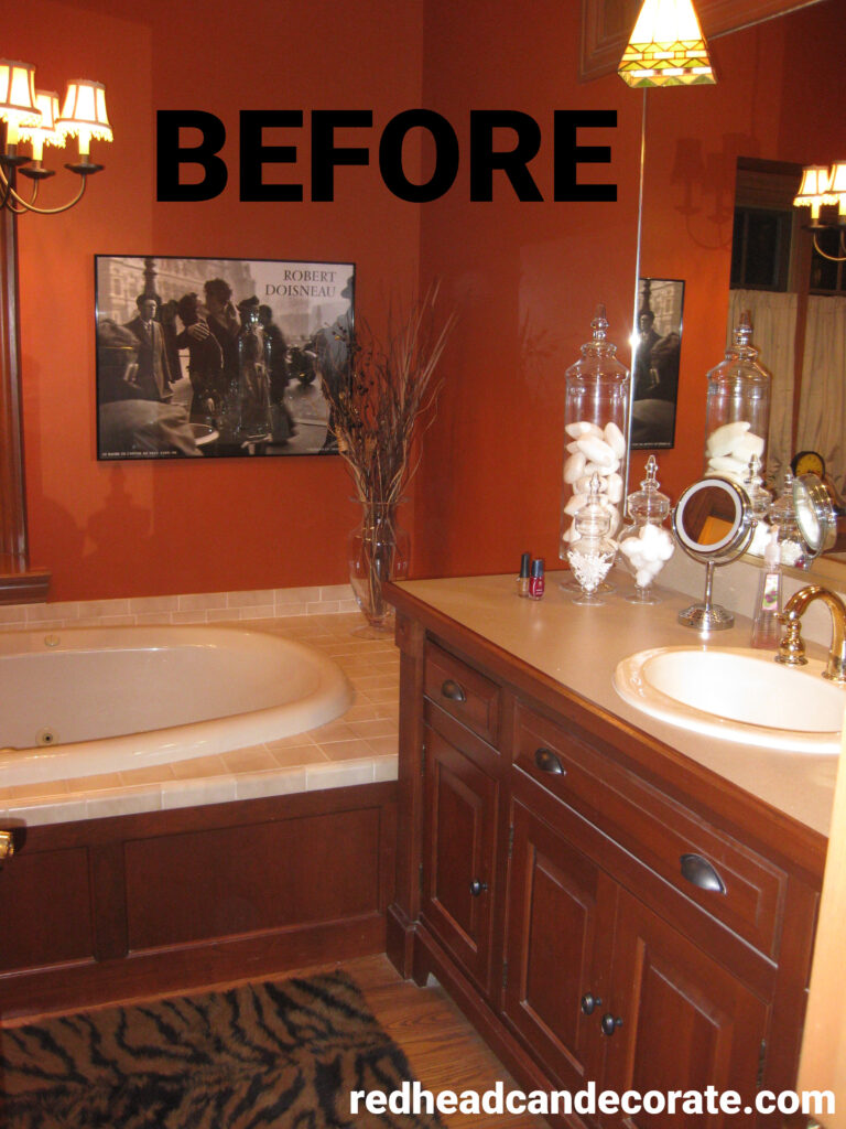 This Michigan blogger created this gorgeous shaving station for her husband. This is a must see! ---> Master Bathroom Renovation Husband's Shaving Station Sink!
