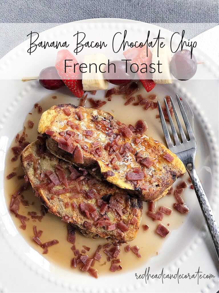 This savory sweet Banana Bacon Chocolate Chip French Toast Recipe is perfect for breakfast any time!