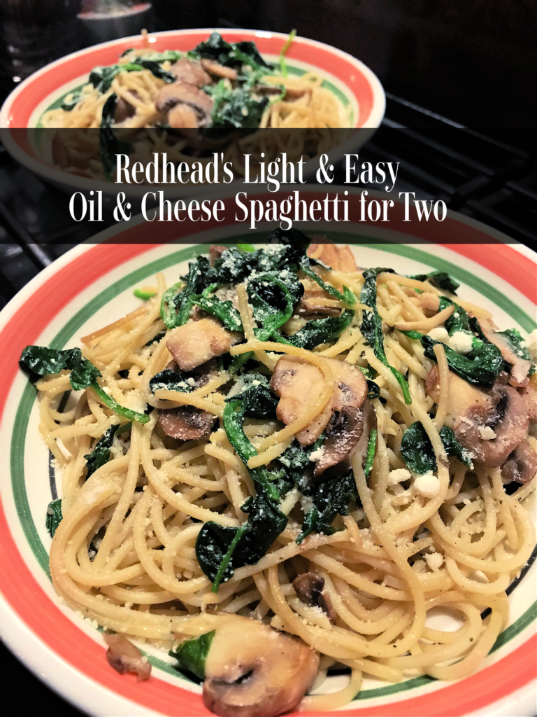 Redhead's Light & Easy Spaghetti  Dishes for Two is a one pot satisfying pasta recipe that takes the guess work out of cooking for 2 people without added calories!