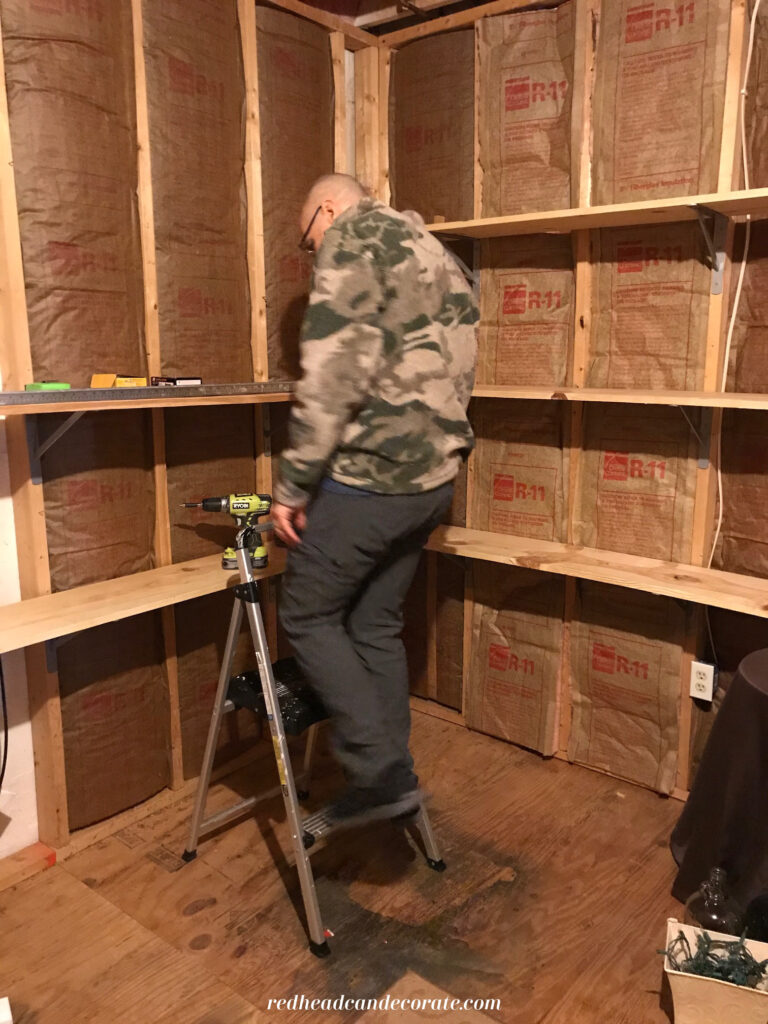 Affordable DIY Basement, Attic, or Garage Storage Stud Shelves are so simple to build yourself using this basic tutorial.