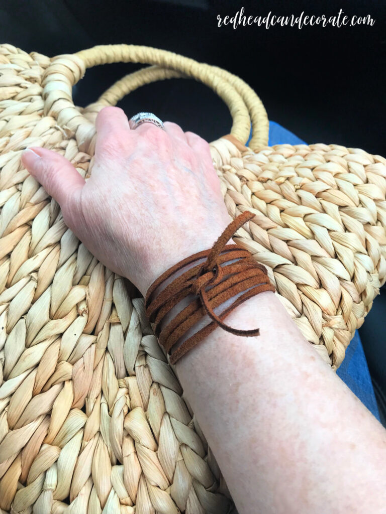 See How to Create & Style a Sexy Rustic Suede Bracelet in just 2 minutes and only 1 supply!