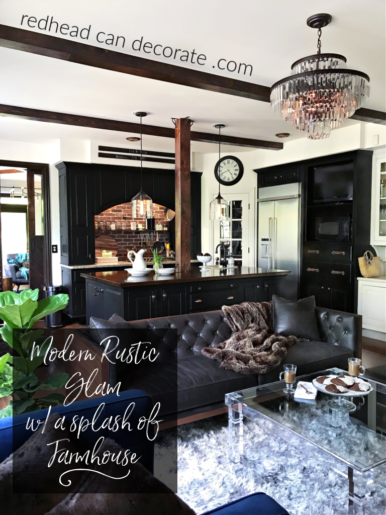 How to Transform your Kitchen into a Cozy Relaxing Lounge using rustic elements, midcentury furniture, and touches of glamorous home decor.