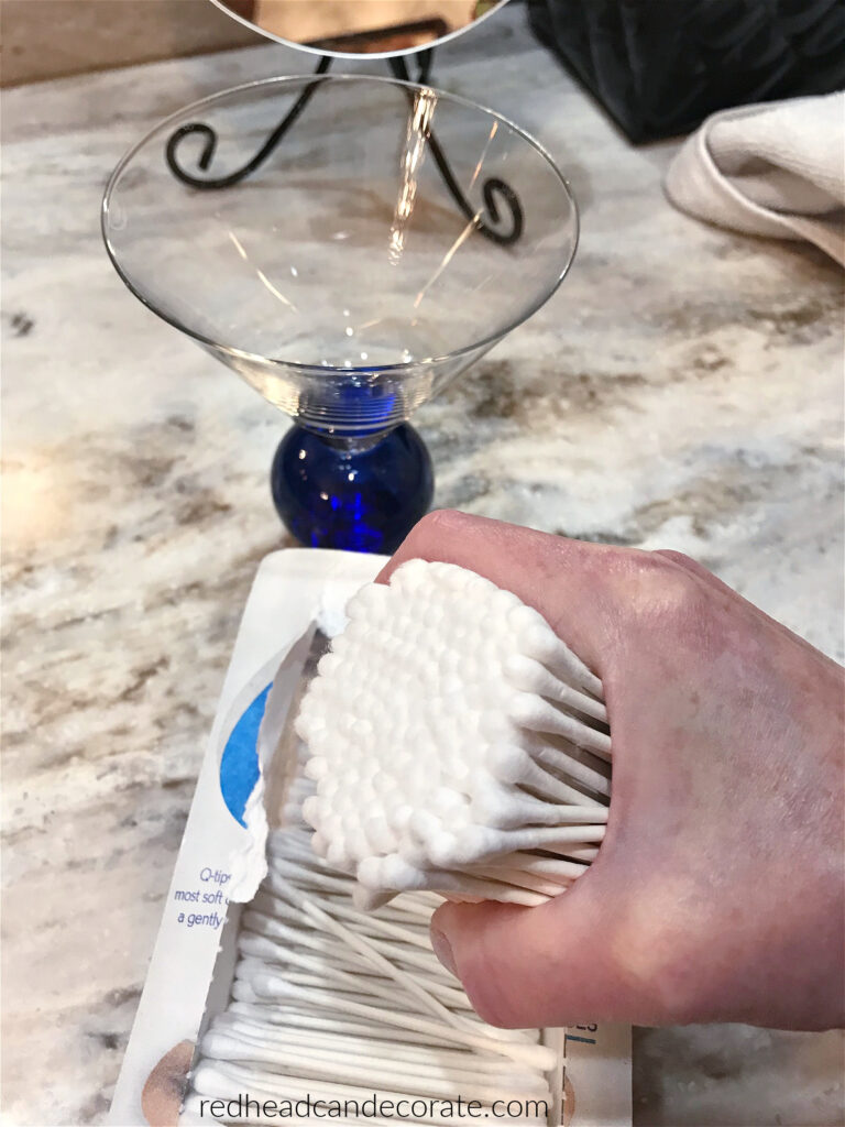 How to Turn a Martini Glass into a Q-Tip Holder